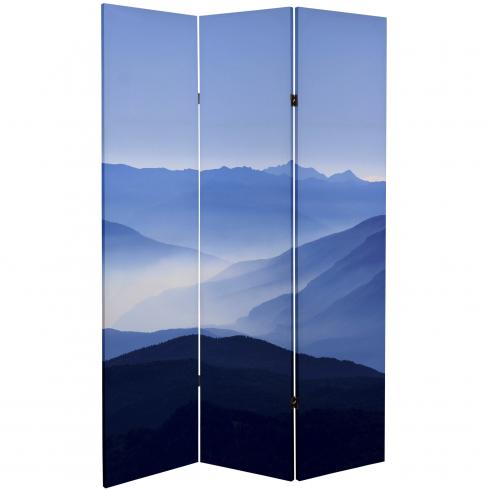 6 ft. Tall Double Sided Misty Mountain Canvas Room Divider
