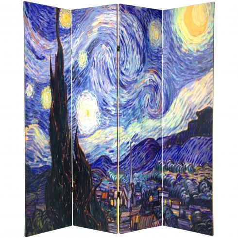 6 ft. Tall Double Sided Works of Van Gogh Canvas Room Divider 4 Panel