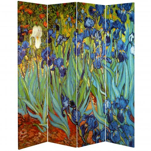 6 ft. Tall Double Sided Works of Van Gogh Canvas Room Divider - Irises/Starry Night Over Rhone