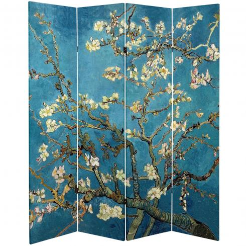 6 ft. Tall Double Sided Works of Van Gogh Canvas Room Divider - Almond Blossoms/Wheat Field