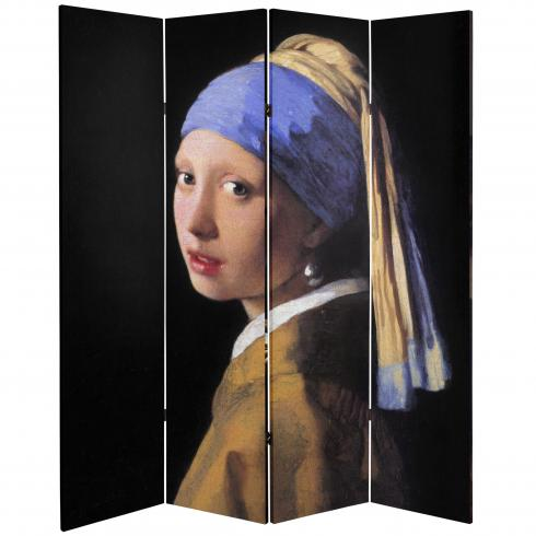 6 ft. Tall Double Sided Works of Vermeer Canvas Room Divider