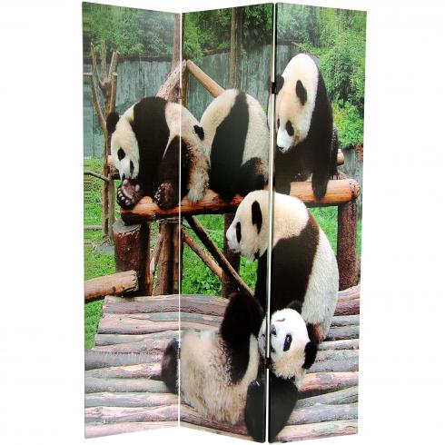 6 ft. Tall Panda Bears Double Sided Room Divider